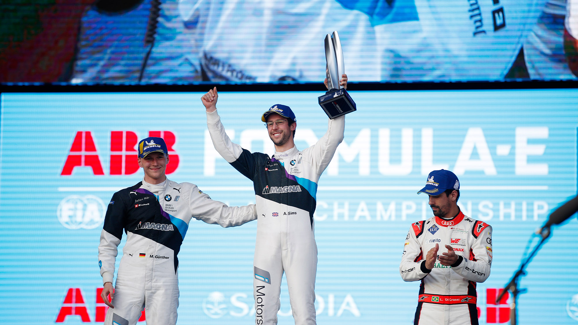 Alexander Sims on the podium after the 2019 Diriyah ePrix