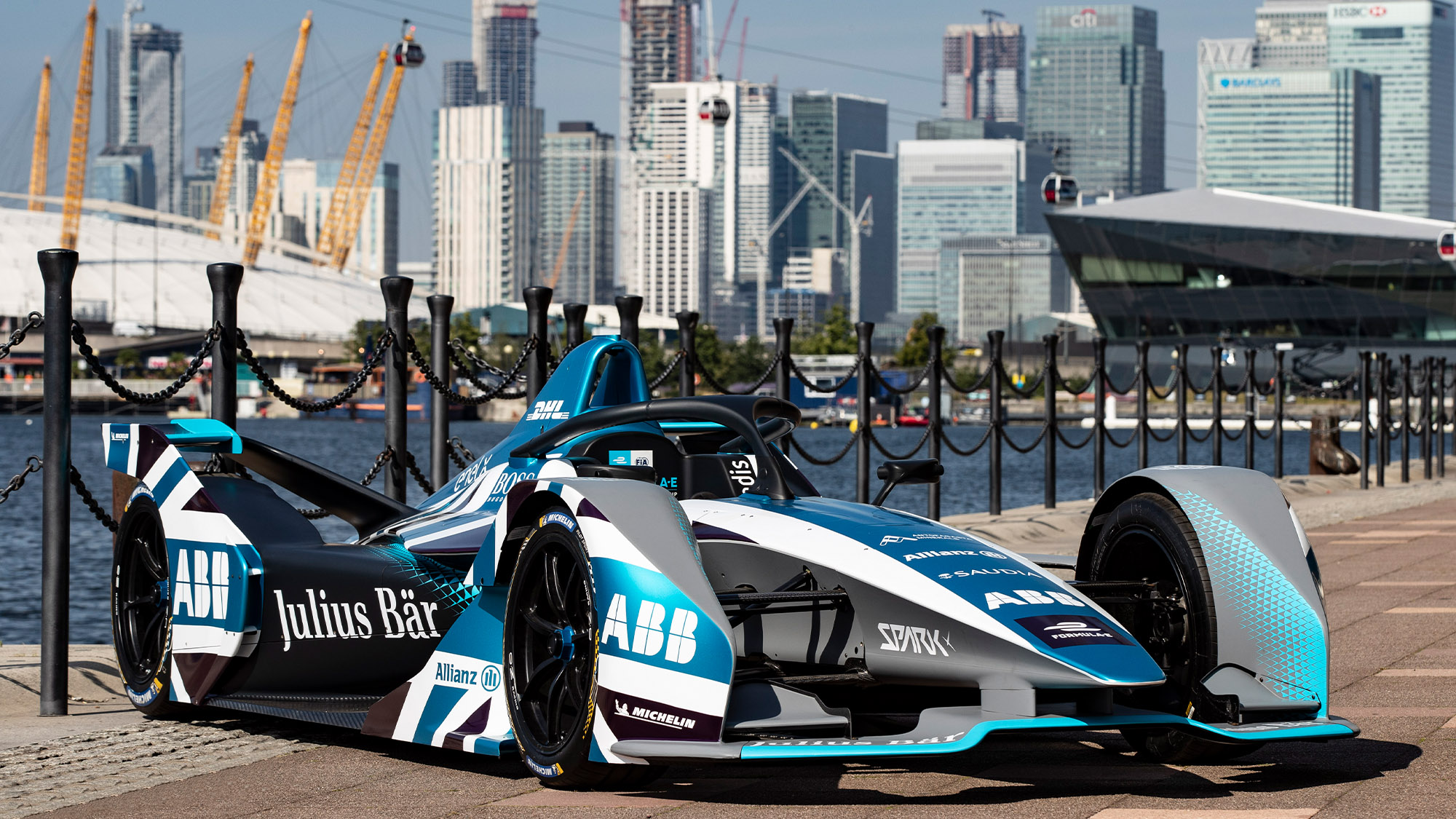 Formula E car in front of the London skyline