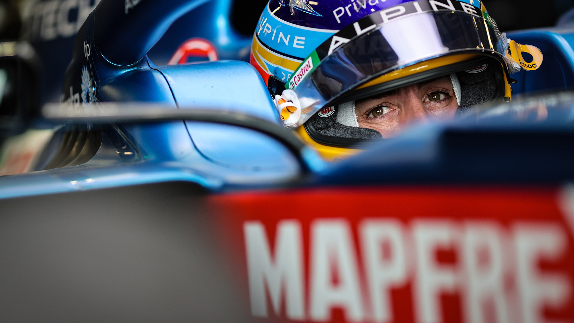 Fernando Alonso in the cockpit of his alpine in 2021