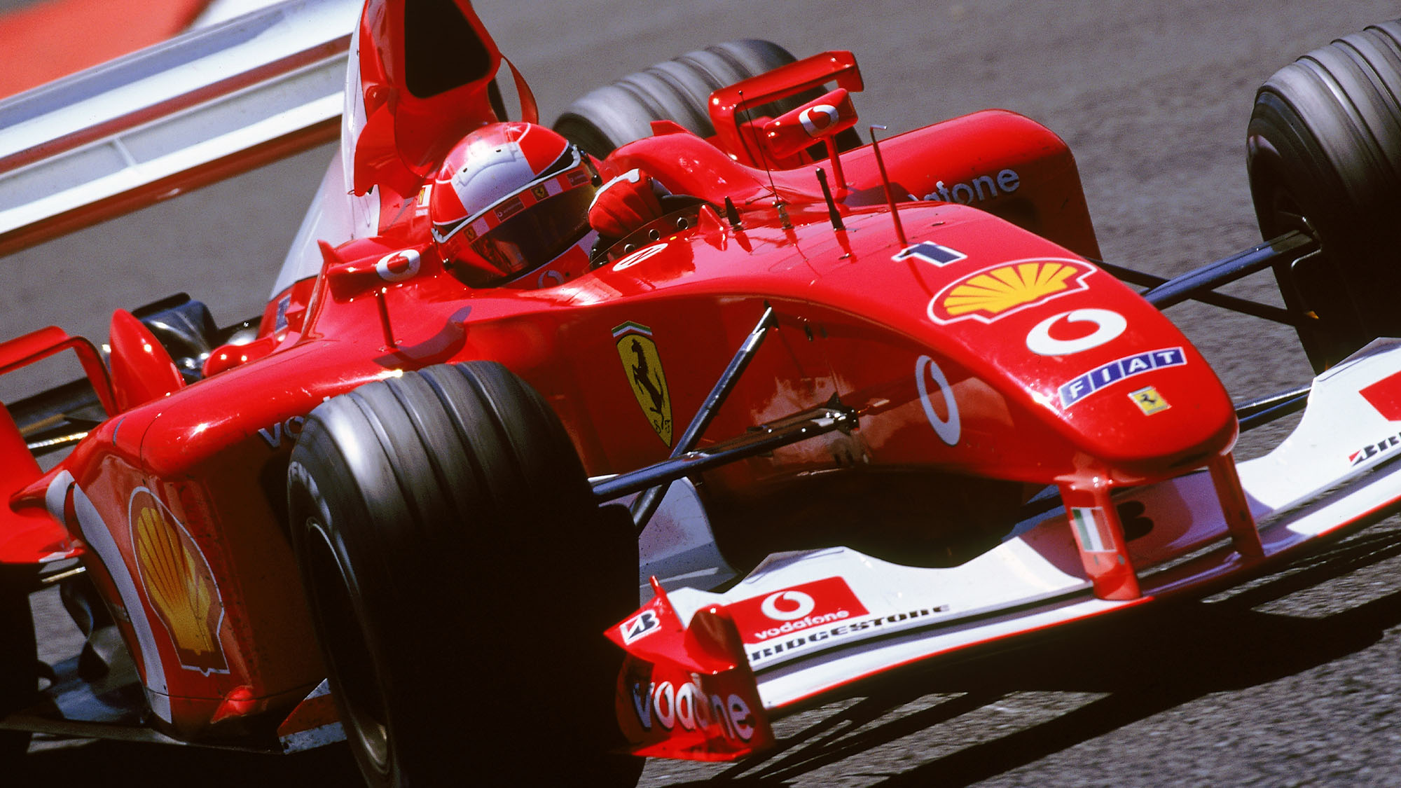 MAGNY-COURS - 21 JULY: Ferrari driver Michael Schumacher in action in the Formula One French Grand Prix at Magny-Cours in Nevers, France on July 21, 2002. (photo by Mark Thompson/Getty Images)