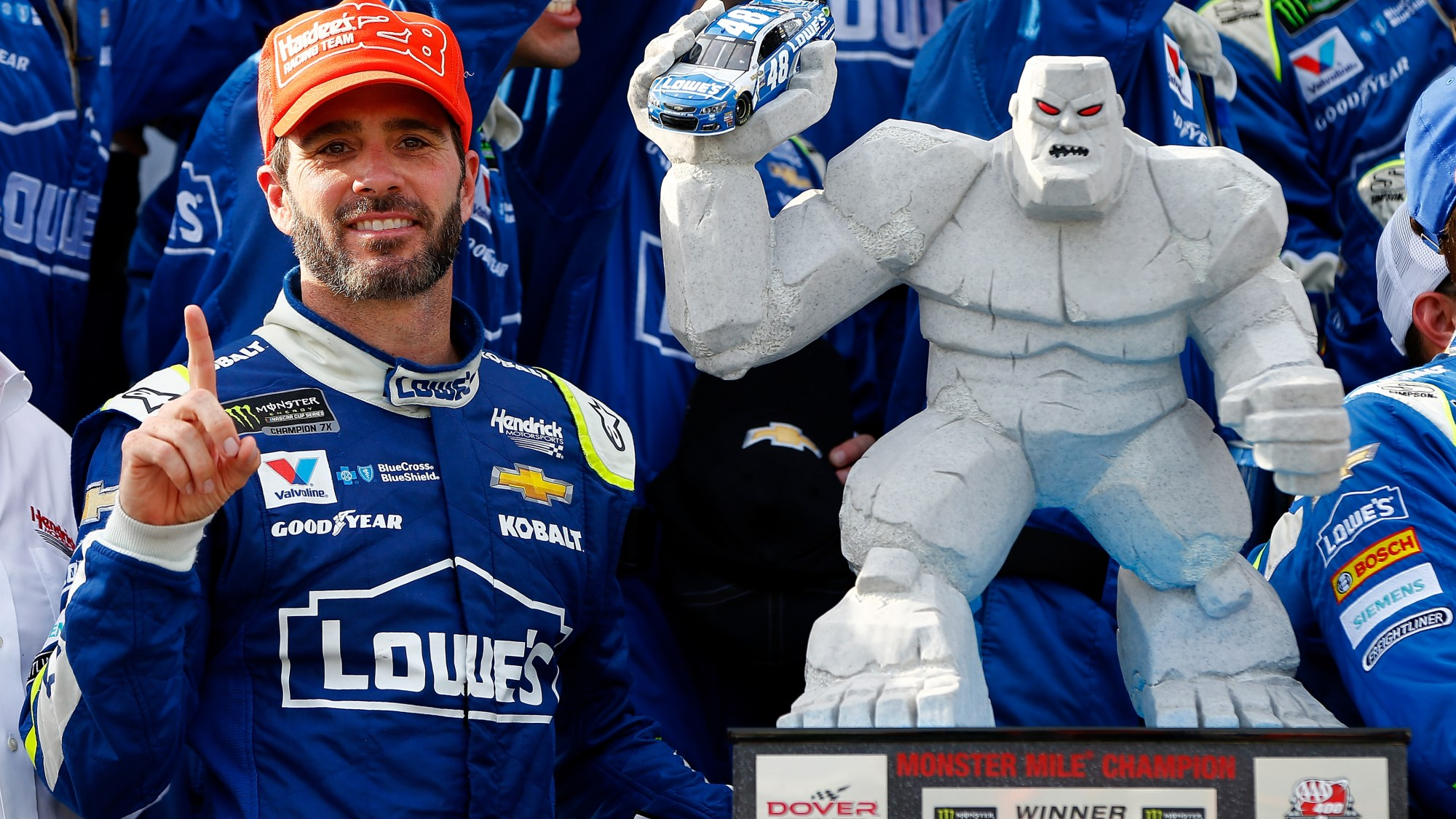 DOVER, DE - JUNE 04: Jimmie Johnson, driver of the #48 Lowe's Chevrolet, celebrates in Victory Lane after winning the Monster Energy NASCAR Cup Series AAA 400 Drive for Autism at Dover International Speedway on June 4, 2017 in Dover, Delaware. (Photo by Jonathan Ferrey/Getty Images)