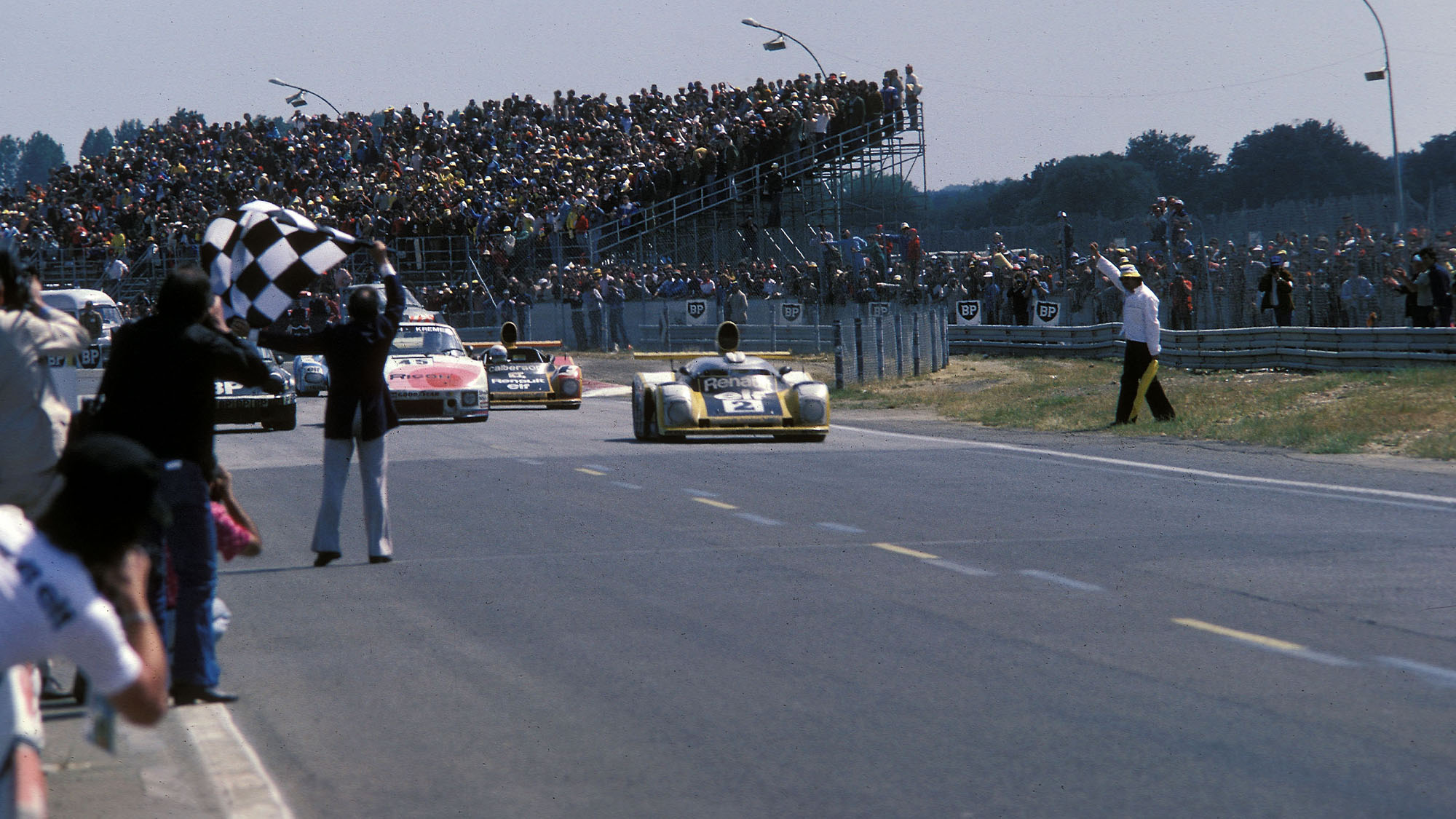 Didier Pironi crosses the line to win for Renault-Alipine at Le Mans 1978