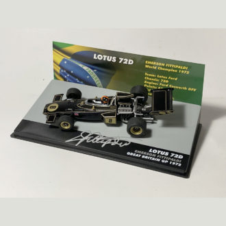 Product image for Emerson Fittipaldi signed 1/43 Lotus 72D (JPS)