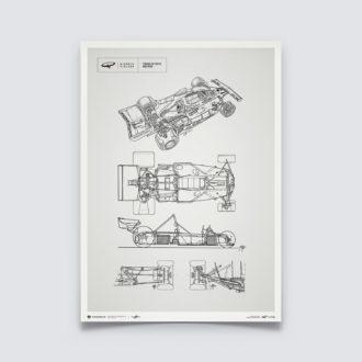 Product image for Giorgio Piola Technical Drawing - Ferrari 312 T - Niki Lauda - 1975