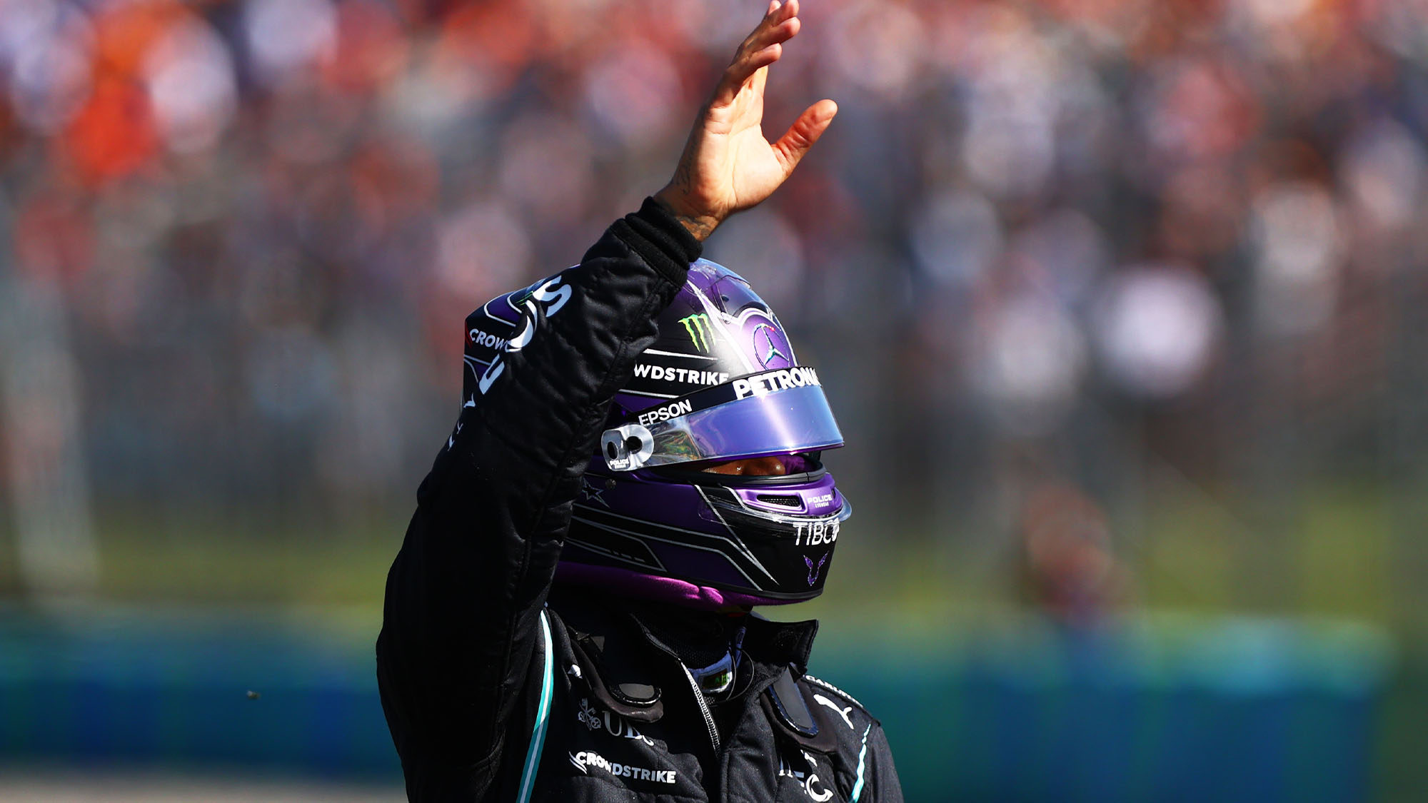 BUDAPEST, HUNGARY - JULY 31: Pole position qualifier Lewis Hamilton of Great Britain and Mercedes GP celebrates in parc ferme during qualifying ahead of the F1 Grand Prix of Hungary at Hungaroring on July 31, 2021 in Budapest, Hungary. (Photo by Dan Istitene - Formula 1/Formula 1 via Getty Images)
