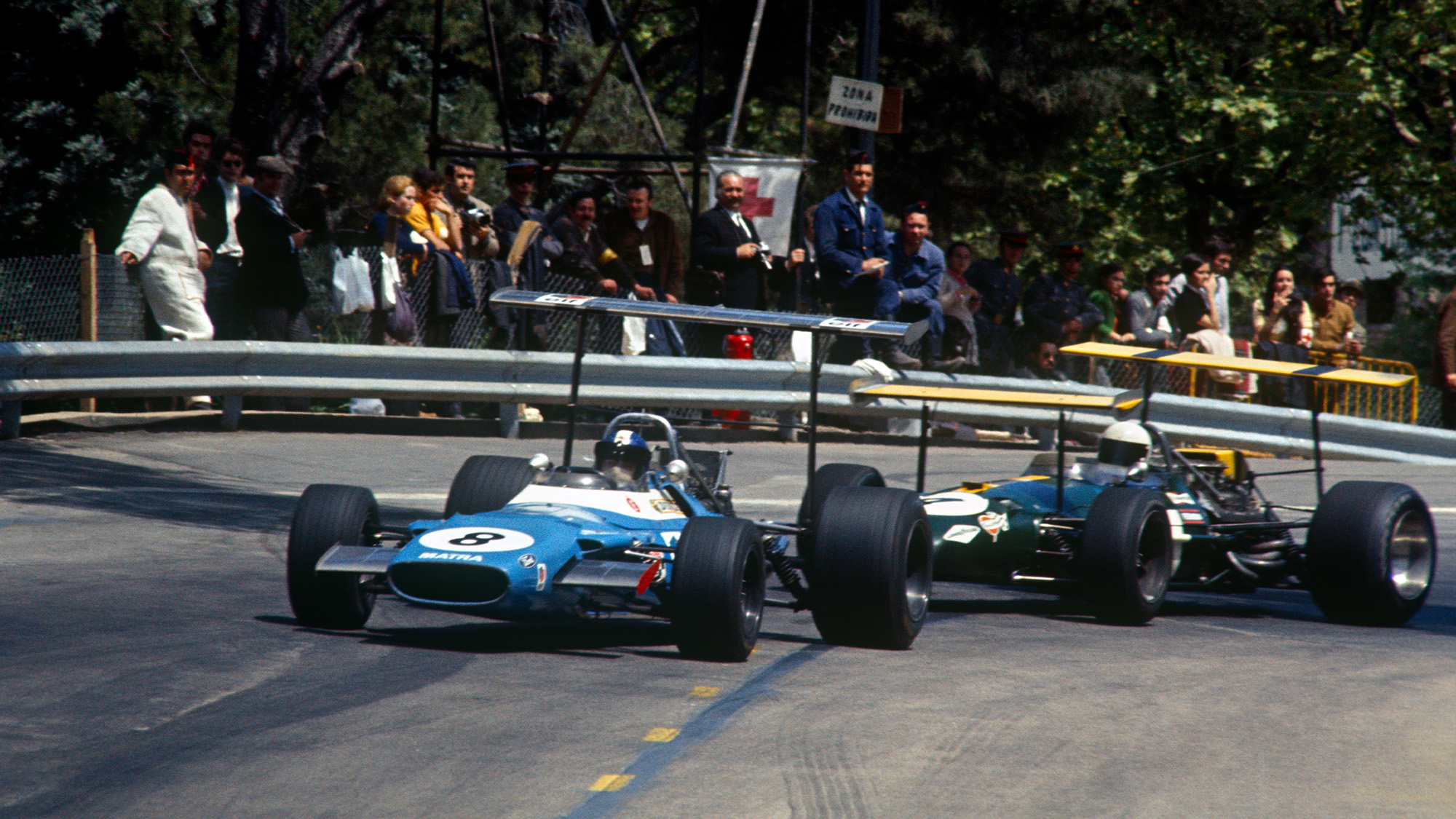 1969 Spanish Grand Prix Jean Pierre Beltoise and Jack Brabham