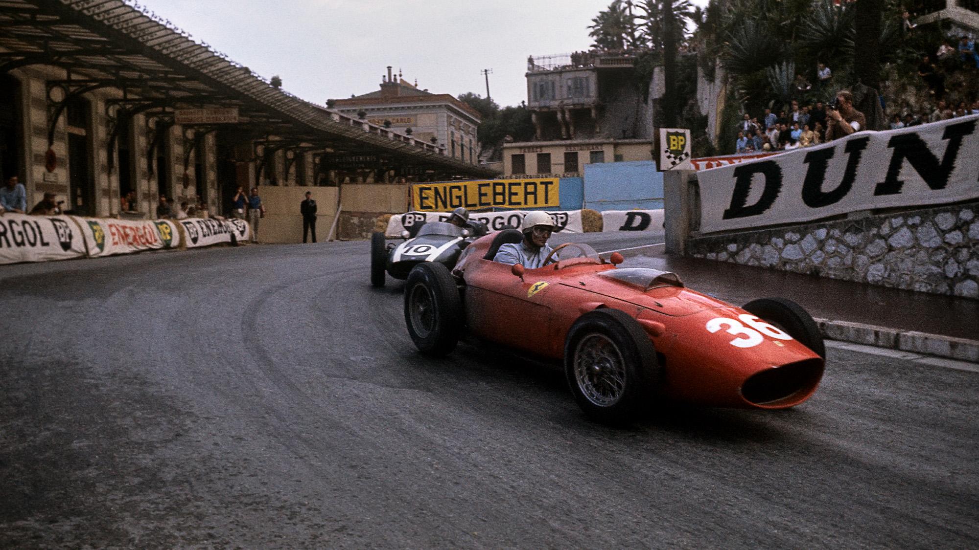 1960 Monaco Grand Prix Phil Hill leads Jack Brabham