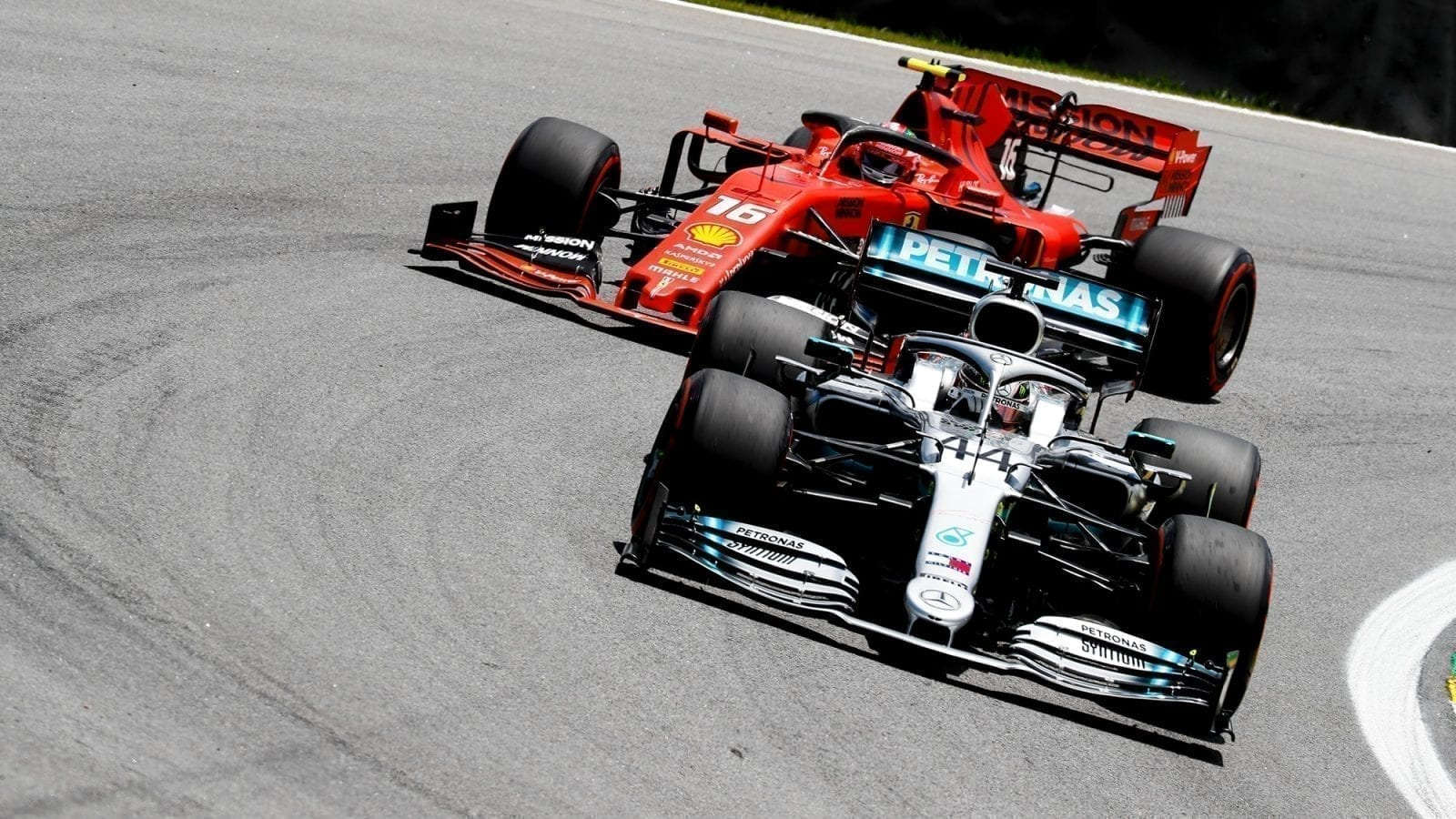 2019 Brazilian Grand Prix Lewis Hamilton and Charles Leclerc