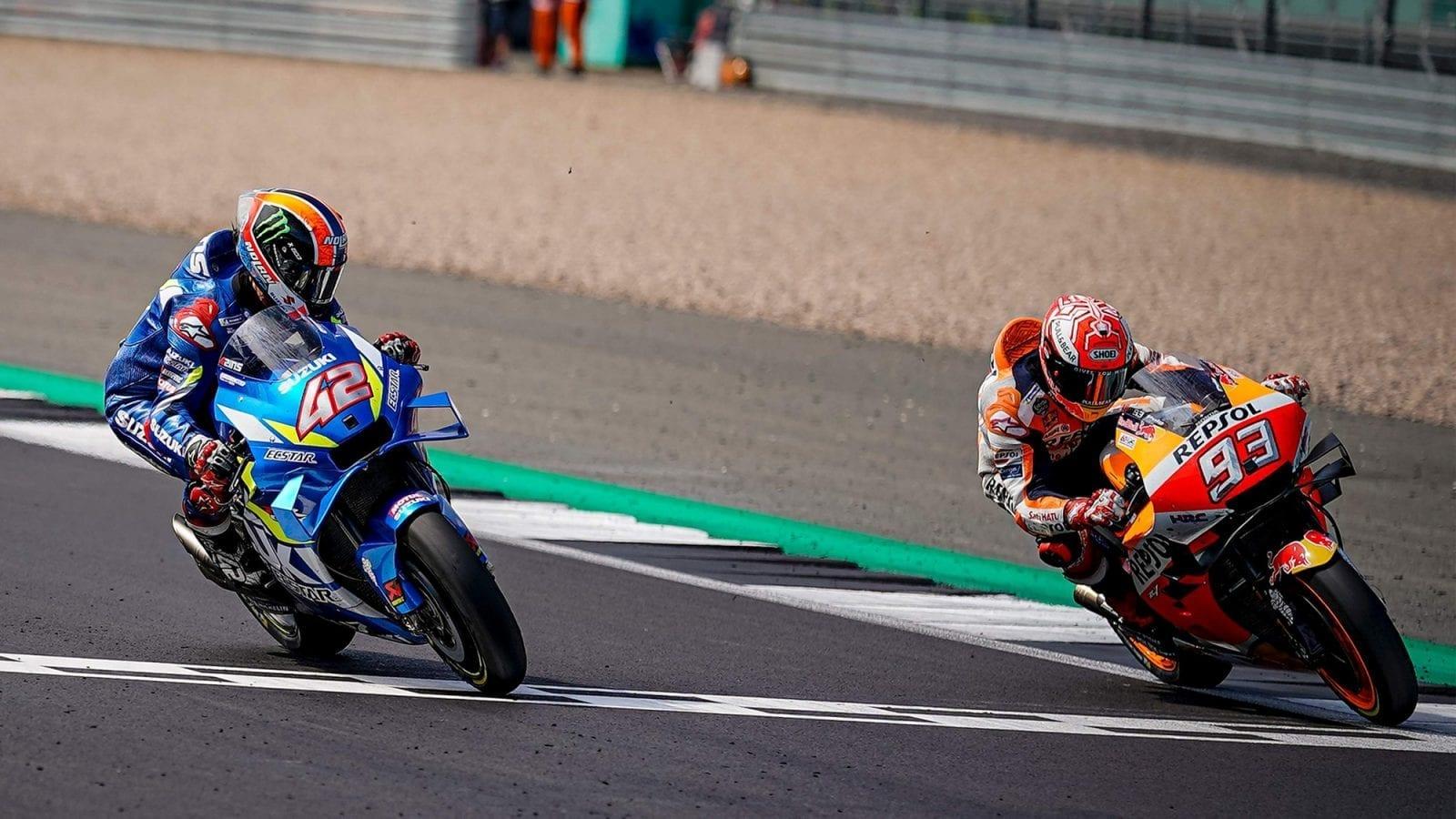 2019 MotoGP British GP Rins and Marquez