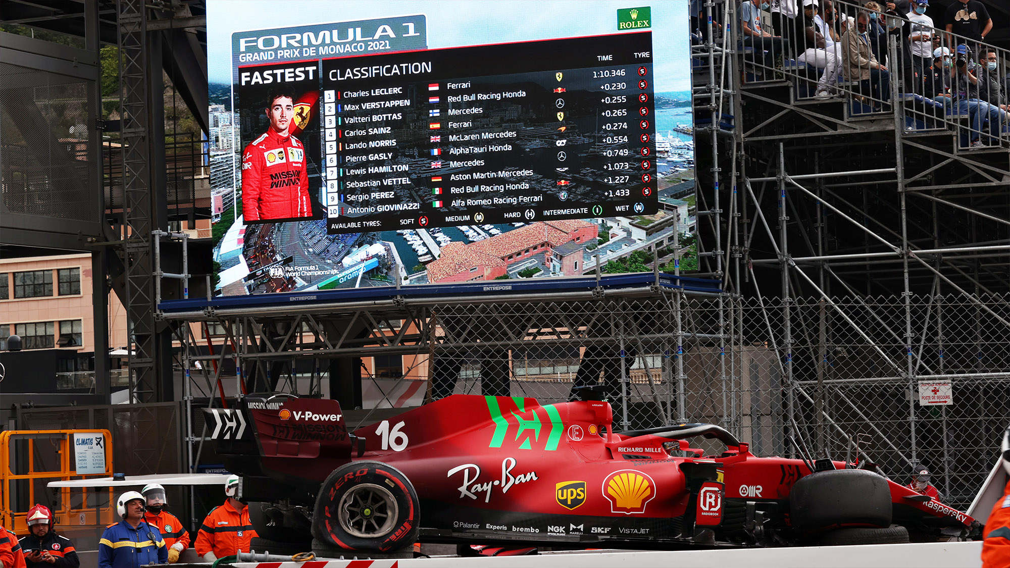 wrecked ferrari of charles leclerc after qualifying for the 2021 f1 monaco grand prix.jpg